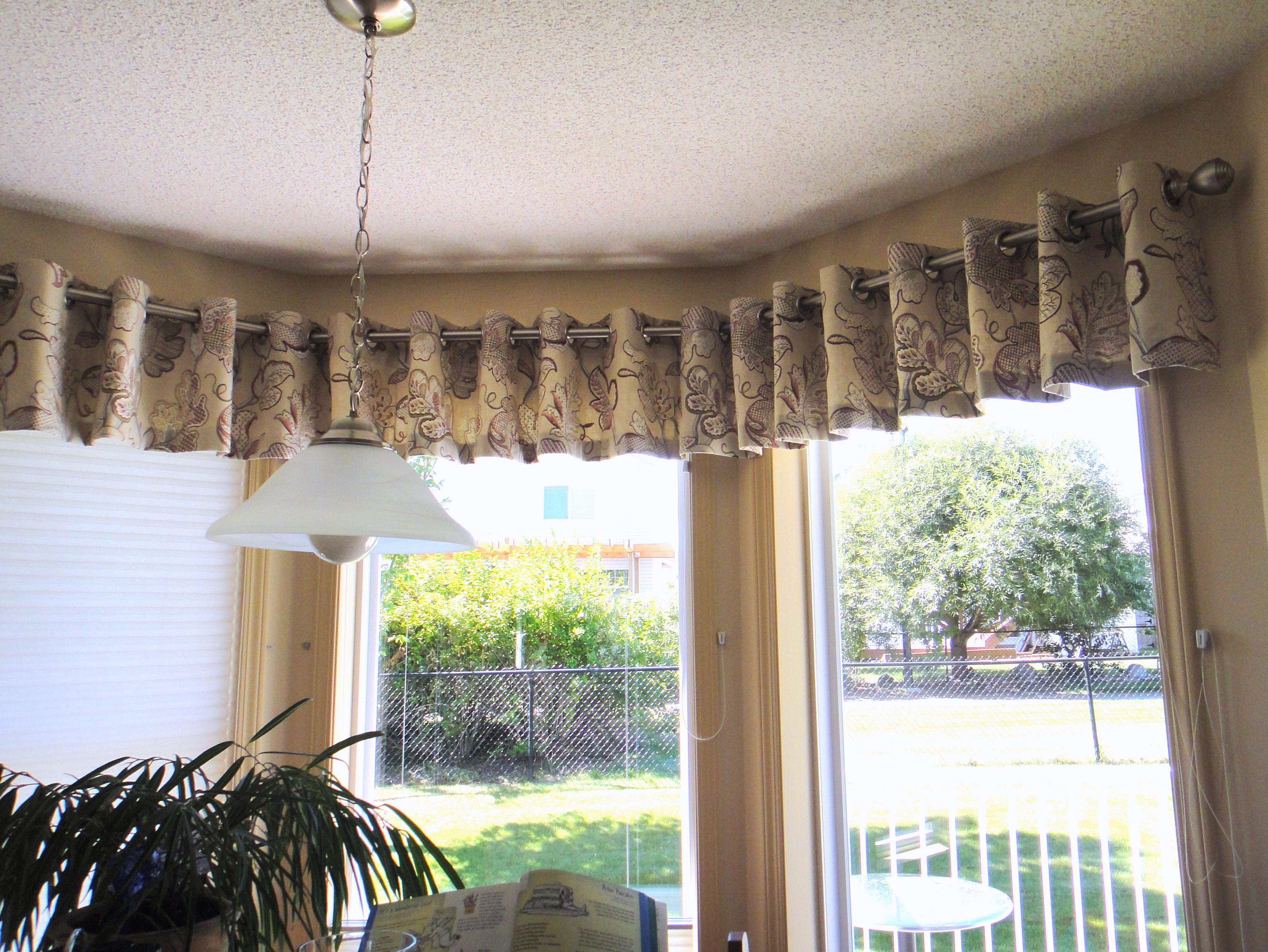 with valance panel white curtain attached a embroidered marianna grommet